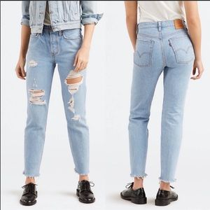 Levi's high rise destroyed wedgie raw hem jeans